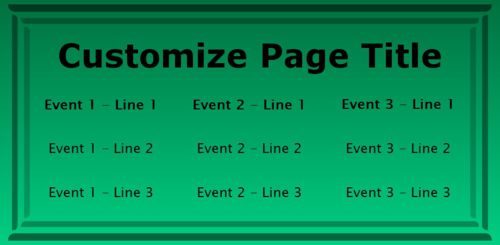 3 Events / Schedules in Green color