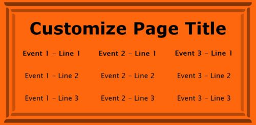 3 Events / Schedules in Orange color