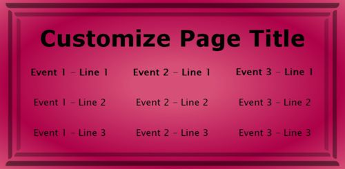3 Events / Schedules in Pink color