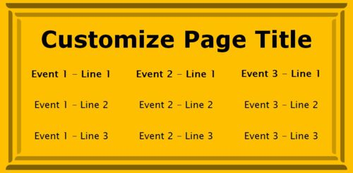 3 Events / Schedules in Yellow color