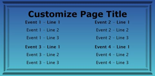 4 Events / Schedules in Blue color