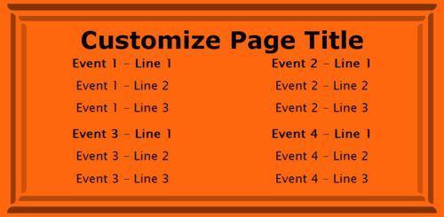 4 Events / Schedules in Orange color