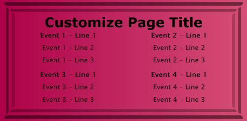 4 Events / Schedules in Pink color