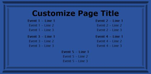 5 Events / Schedules in Blue color