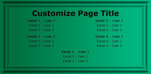 5 Events / Schedules in Green color