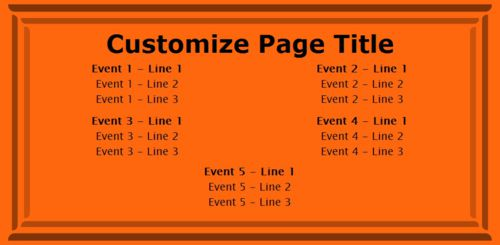 5 Events / Schedules in Orange color