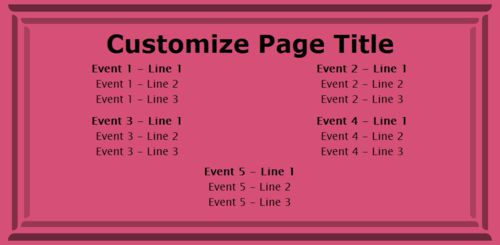 5 Events / Schedules in Pink color