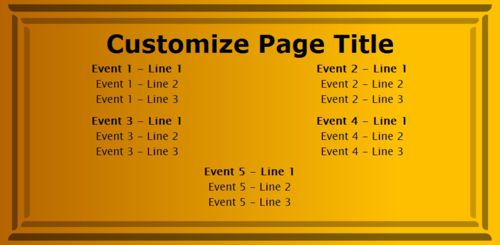 5 Events / Schedules in Yellow color