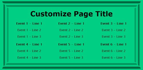 6 Events / Schedules in Green color