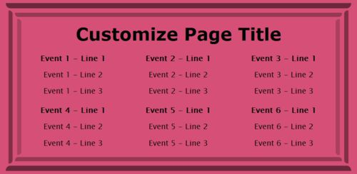 6 Events / Schedules in Pink color