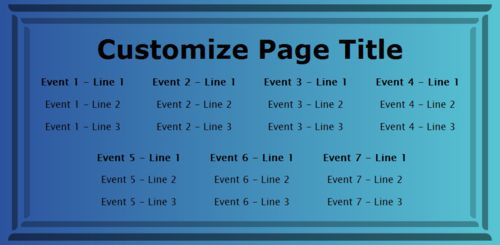 7 Events / Schedules in Blue color