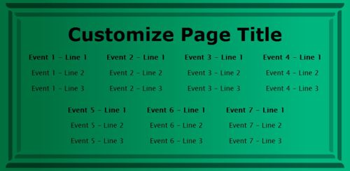 7 Events / Schedules in Green color
