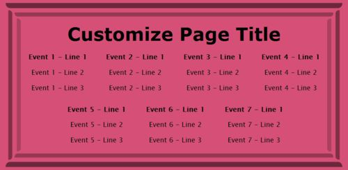 7 Events / Schedules in Pink color