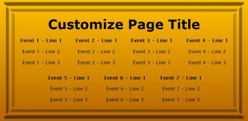 7 Events / Schedules in Yellow color