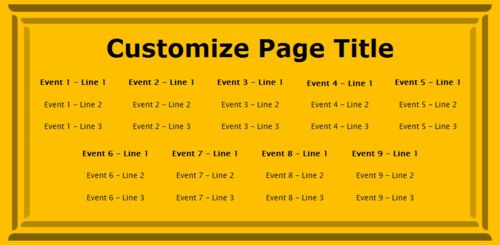 9 Events / Schedules in Yellow color