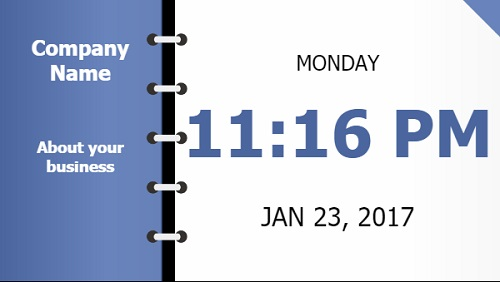 Date and Time With Company Name - Folder Style in Blue color