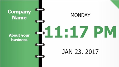 Date and Time With Company Name - Folder Style in Green color