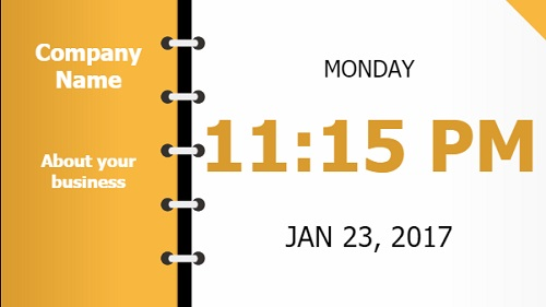 Date and Time With Company Name - Folder Style in Yellow color
