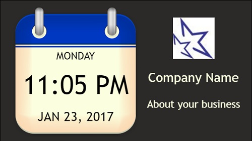 Date and Time With Logo and Company Name in Blue color