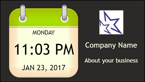 Date and Time With Logo and Company Name in Green color