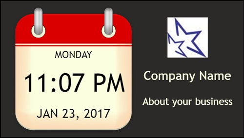 Date and Time With Logo and Company Name in Red color