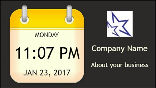 Date and Time With Logo and Company Name in Yellow color