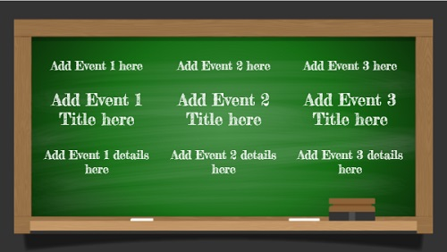 Event Template - Green Board - 3 Items in White color