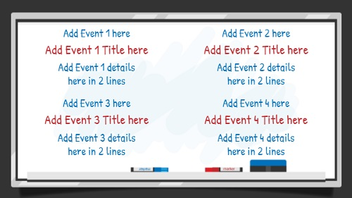 Event Template - White Board - 4 Items in White color