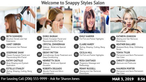 Salon / Office Directory Board - 20 Items in White color