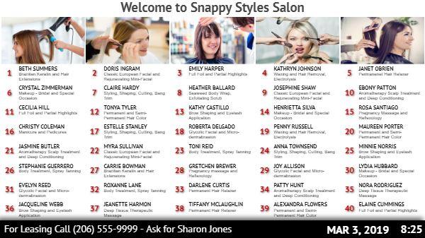 Salon / Office Directory Board - 40 Items in White color