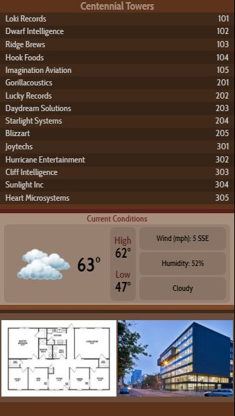 Vertical Lobby Directory with Current Weather - 15 Items in Brown color