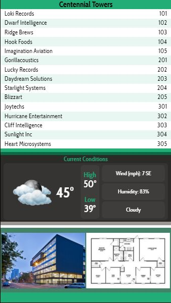 Vertical Lobby Directory with Current Weather - 15 Items in Green color