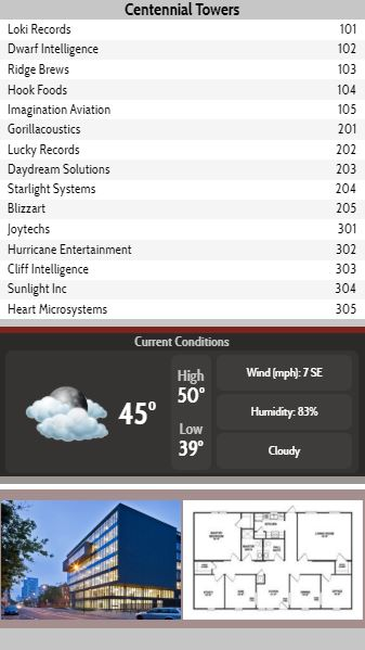 Vertical Lobby Directory with Current Weather - 15 Items in Grey color
