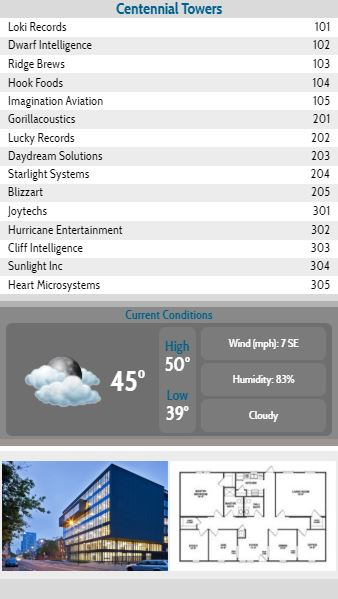 Vertical Lobby Directory with Current Weather - 15 Items in White color