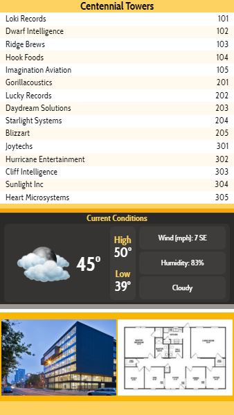Vertical Lobby Directory with Current Weather - 15 Items in Yellow color
