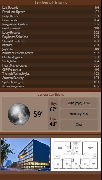 Vertical Lobby Directory with Current Weather - 20 Items in Brown color
