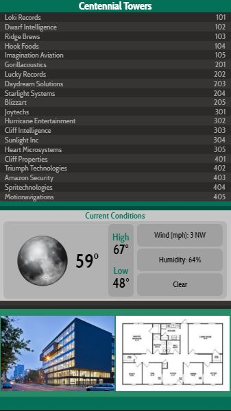 Vertical Lobby Directory with Current Weather - 20 Items in Green color