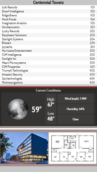 Vertical Lobby Directory with Current Weather - 20 Items in Grey color