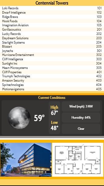 Vertical Lobby Directory with Current Weather - 20 Items in Yellow color