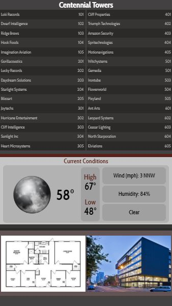 Vertical Lobby Directory with Current Weather - 30 Items in Black color