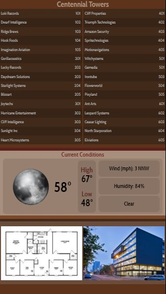 Vertical Lobby Directory with Current Weather - 30 Items in Brown color