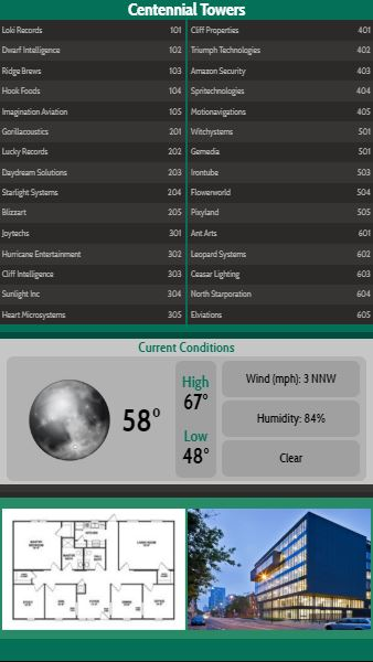 Vertical Lobby Directory with Current Weather - 30 Items in Green color