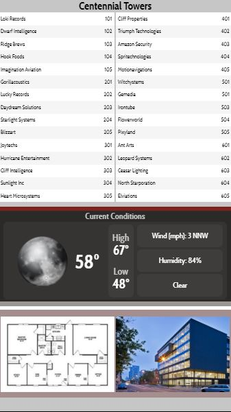 Vertical Lobby Directory with Current Weather - 30 Items in Grey color