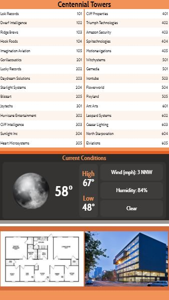 Vertical Lobby Directory with Current Weather - 30 Items in Orange color