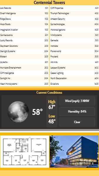 Vertical Lobby Directory with Current Weather - 30 Items in Yellow color