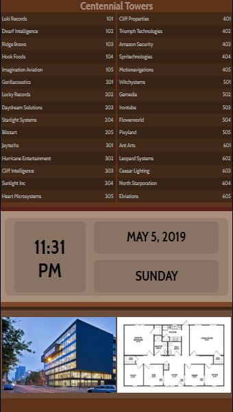 Vertical Lobby Directory with Date and Time - 30 Items in Brown color