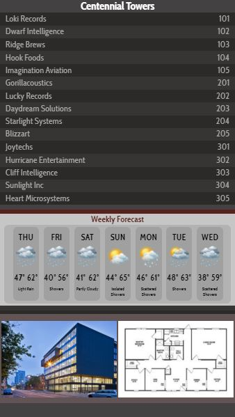 Vertical Lobby Directory with Weekly Weather - 15 Items in Black color