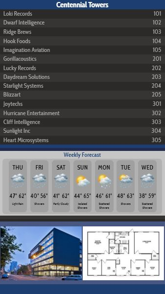 Vertical Lobby Directory with Weekly Weather - 15 Items in Blue color