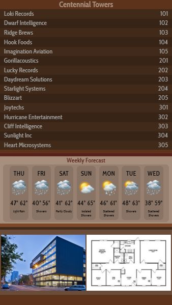 Vertical Lobby Directory with Weekly Weather - 15 Items in Brown color