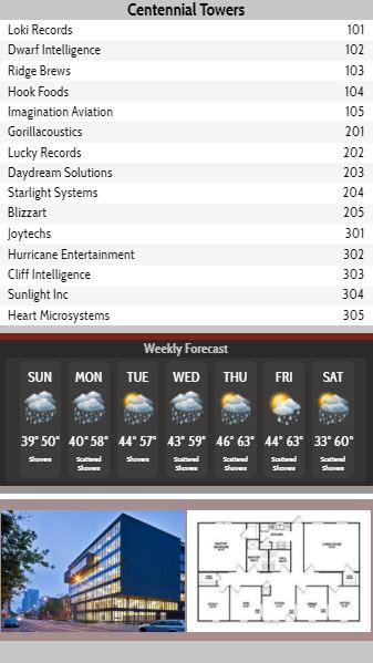 Vertical Lobby Directory with Weekly Weather - 15 Items in Grey color
